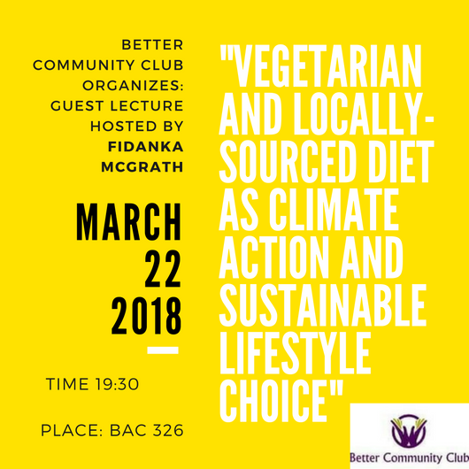 Environmental Week: Lecture - Vegetarian and Locally-sourced Diet as Climate Action and Sustainable Lifestyle Choice