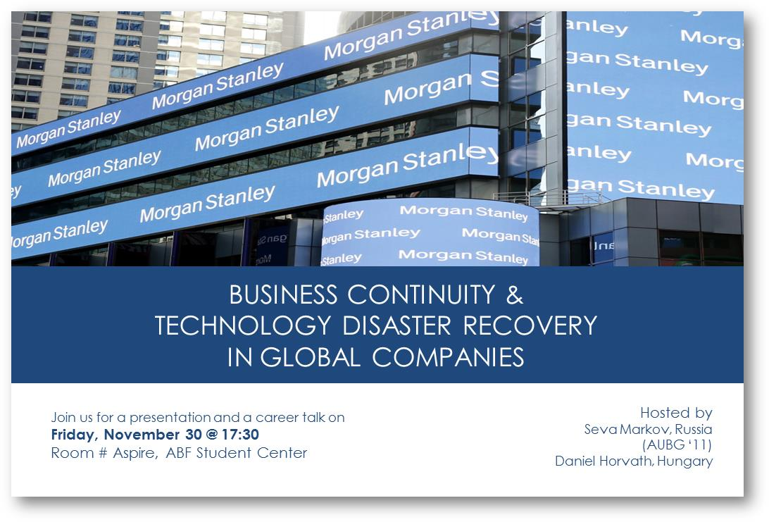 Presentation: Business Continuity &Technology Disaste | AUBG