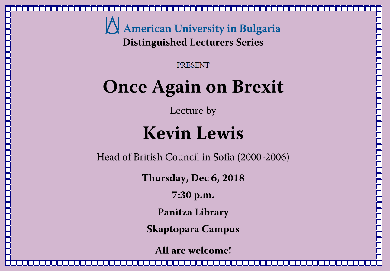 Lecture: Once Again Brexit by Kevin Lewis