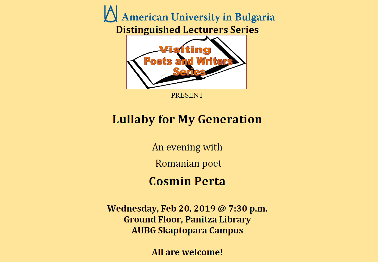 Poetry Reading: Lullaby for My Generation by Cosmin Perta