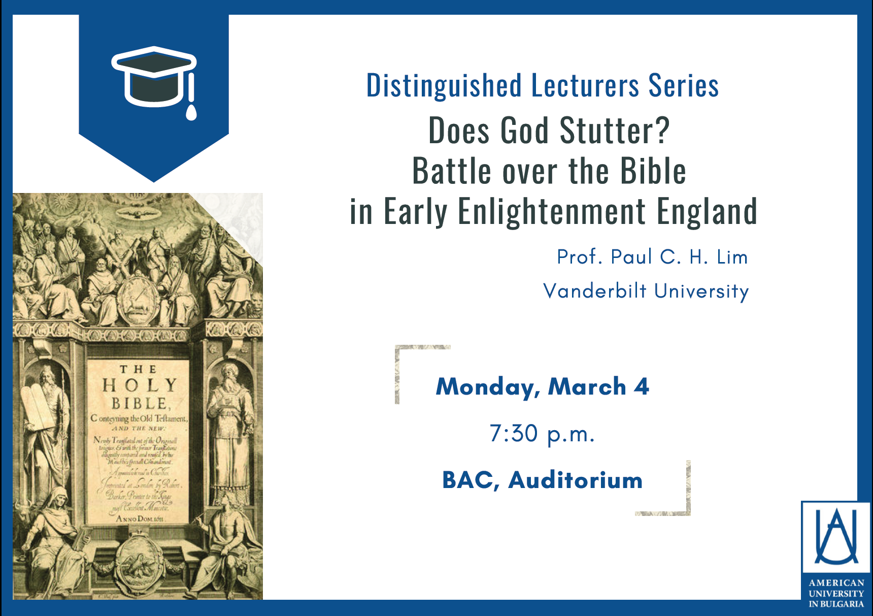 Lecture: Does God Stutter? Battle over the Bible in Early Enlightenment England