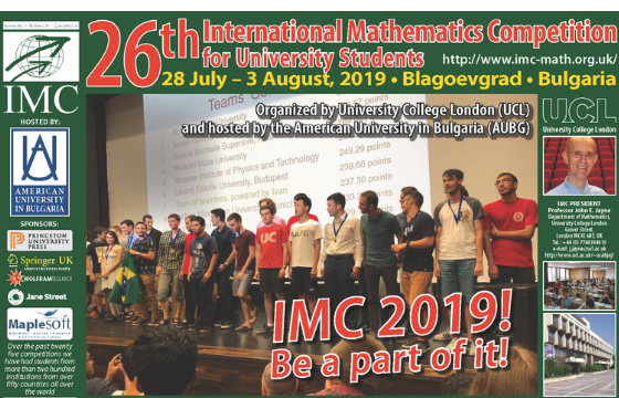 26th International Mathematics Competition for University Students