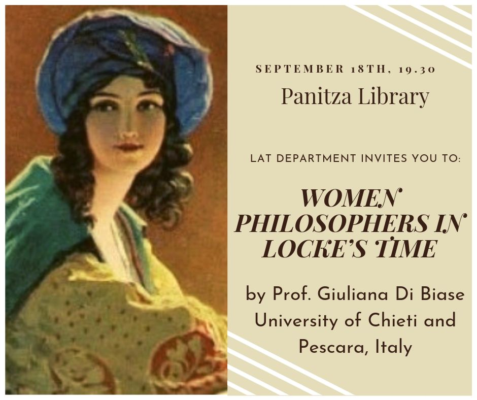 "Guest lecture by Prof. Giuliana Di Biase: ""Women Philosophers in Locke's Time"""