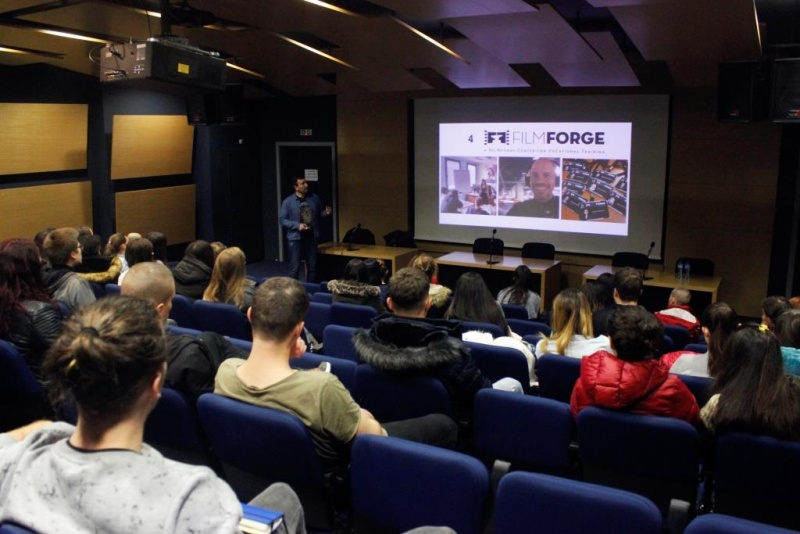 Ivaylo Grancharov from NuBoyana Film Studios speaks in front of the AUBG community