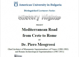 Distinguished Lecturer Series: Mediterranean Road from Crete to Rome, by Dr. Piero Meogrossi. April 27, 2016