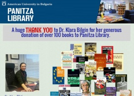A huge thank you to Dr. Klara Bilgin for her generous donation of over 100 books to Panitza Library