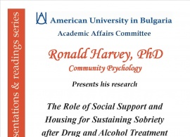 Book Presentations & Readings Series: The Role of Social Support and Housing for Sustaining Sobriety after Drug and Alcohol Treatment, Dec.6, 2016