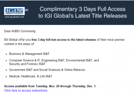 Free 3-Day Full-Text Access to IGI Global