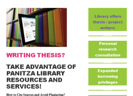 Writing thesis? Take advantage of Panitza library resources and services!