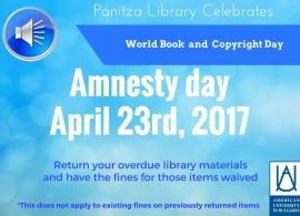 Amnesty Day at Panitza Library - April 23rd