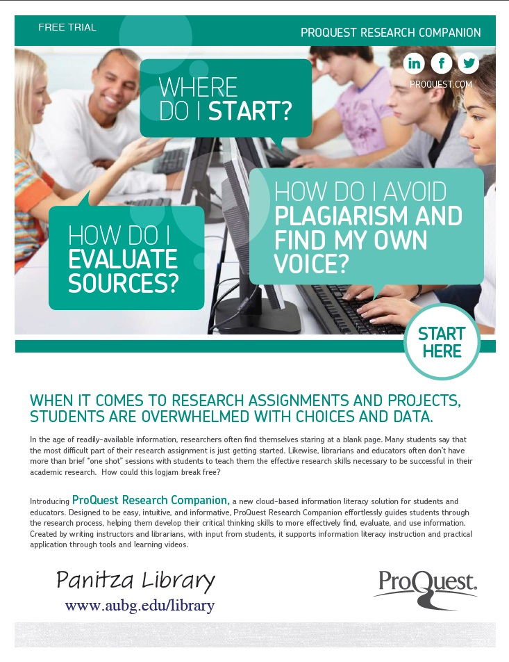 The free trial to ProQuest Research Companion